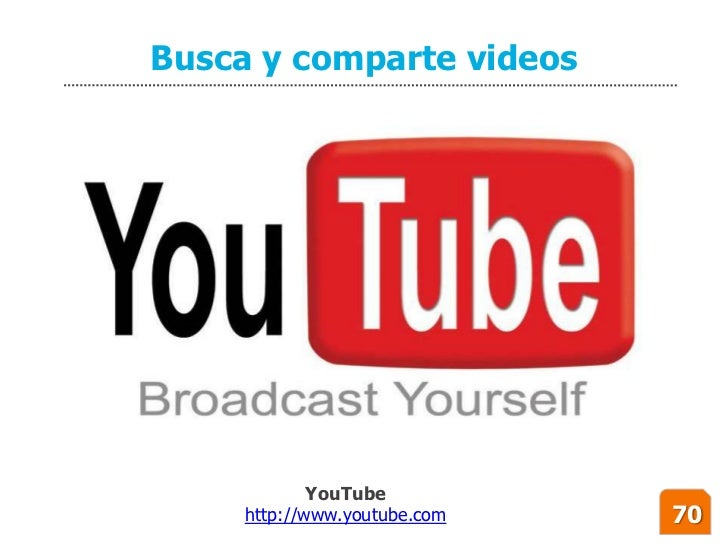 Busca y comparte videos                  YouTube      http://www.youtube.com   70