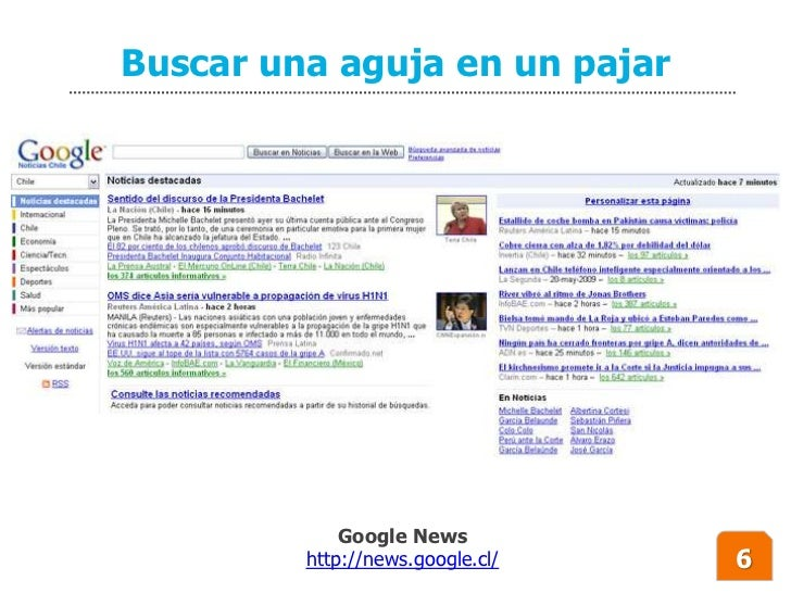 Buscar una aguja en un pajar                  Google News          http://news.google.cl/   6