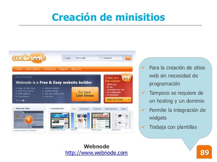 Creación de minisitios                                Para la creación de sitios                               web sin ne...