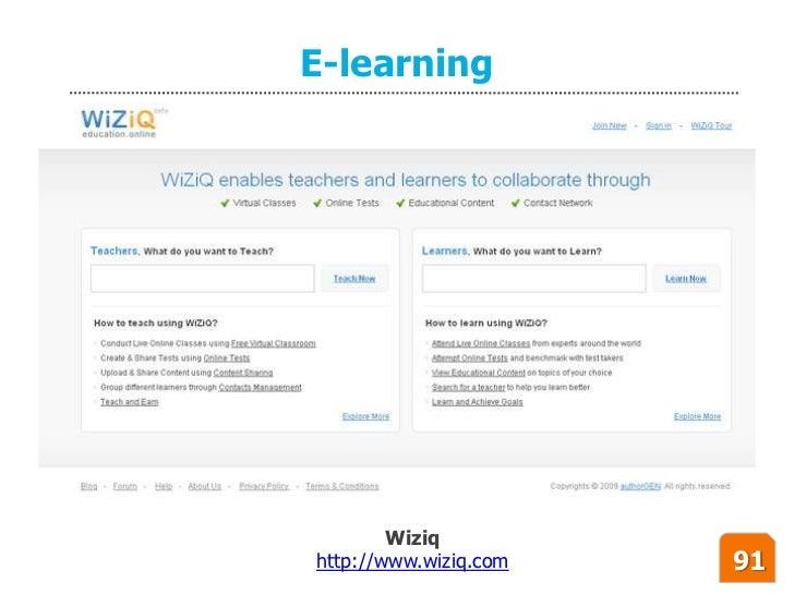 E-learning             Wiziq http://www.wiziq.com   91