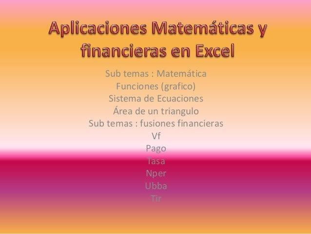 Sub temas : Matemática Funciones (grafico) Sistema de Ecuaciones Área de un triangulo Sub temas : fusiones financieras Vf ...