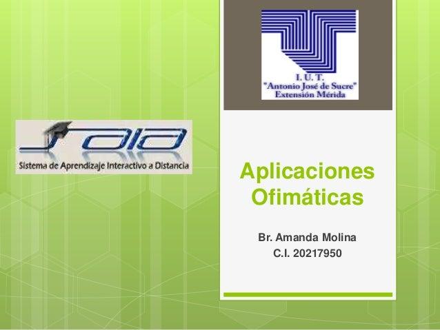 Aplicaciones Ofimáticas Br. Amanda Molina C.I. 20217950