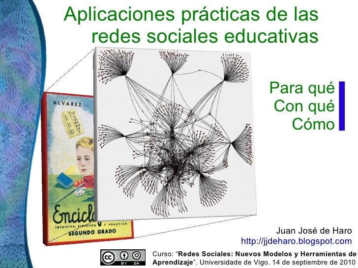 Aplicaciones prácticas de las redes sociales educativas Juan José de Haro  http://jjdeharo.blogspot.com   Para qué Con qué...