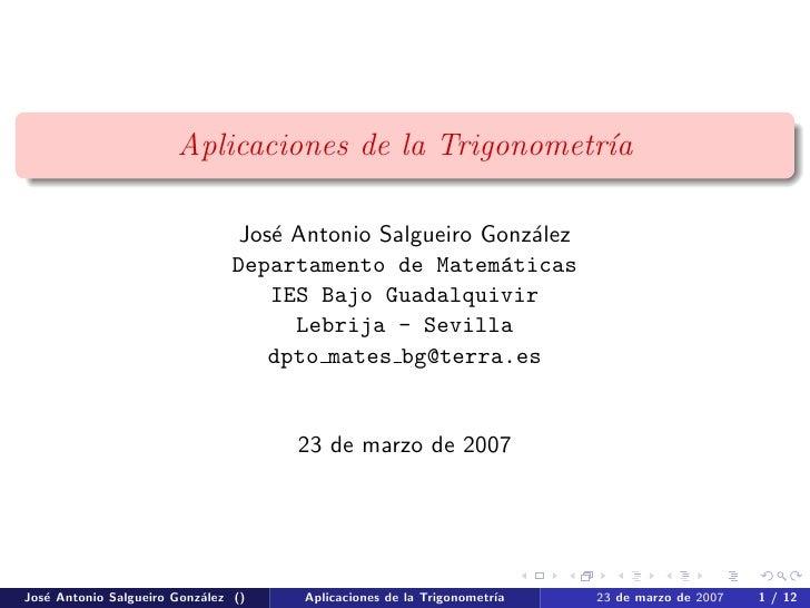 Aplicaciones de la Trigonometr´a                                                      ı                                  J...