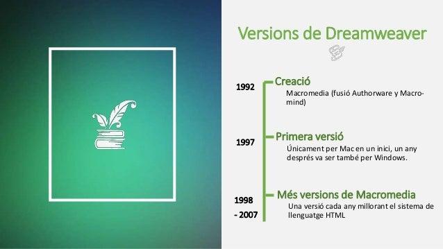 Versions de Dreamweaver Macromedia (fusió Authorware y Macro- mind) Creació Únicament per Mac en un inici, un any després ...