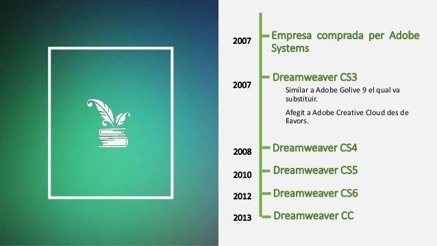 Empresa comprada per Adobe Systems Similar a Adobe Golive 9 el qual va substituir. Afegit a Adobe Creative Cloud des de ll...