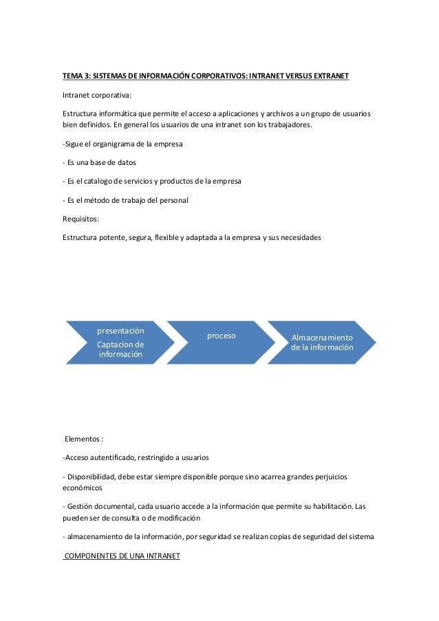 TEMA 3: SISTEMAS DE INFORMACIÓN CORPORATIVOS: INTRANET VERSUS EXTRANET  Intranet corporativa:  Estructura informática que ...