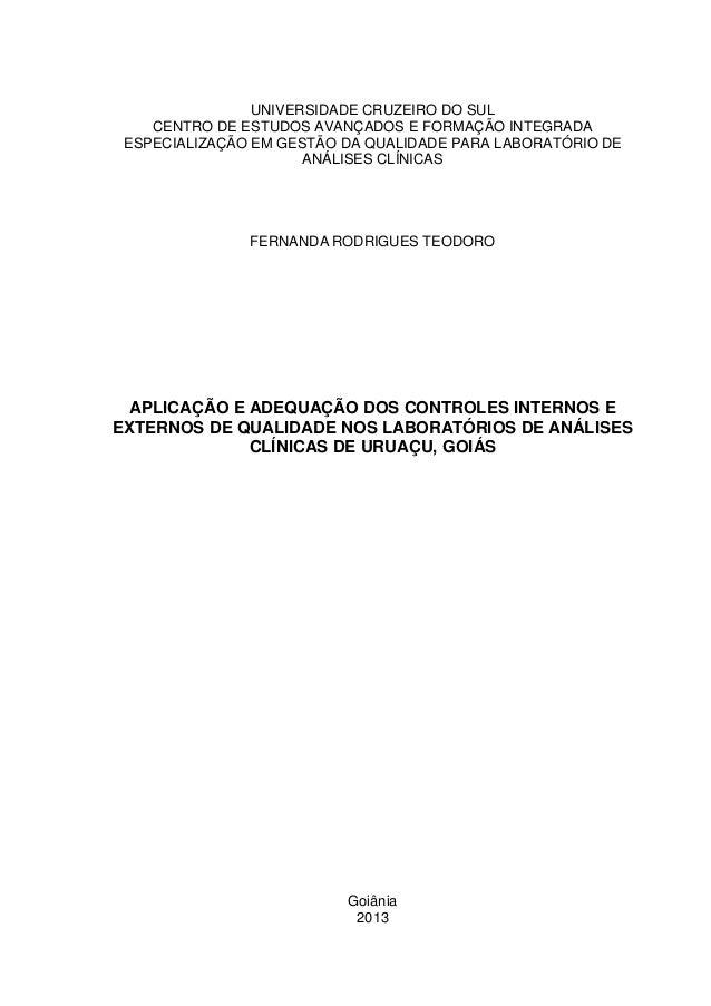 UNIVERSIDADE CRUZEIRO DO SUL  CENTRO DE ESTUDOS AVANÇADOS E FORMAÇÃO INTEGRADA  ESPECIALIZAÇÃO EM GESTÃO DA QUALIDADE PARA...