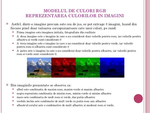 MODELUL DE CULORI RGB               REPREZENTAREA CULORILOR IN IMAGINI   Astfel, dintr-o imagine precum este cea de jos,...