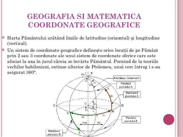 GEOGRAFIA SI MATEMATICA             COORDONATE GEOGRAFICE   Harta Pământului arătând liniile de latitudine (orizontal) şi...