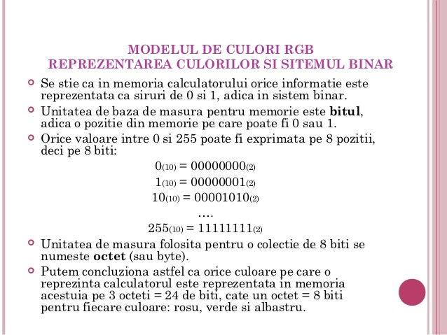 MODELUL DE CULORI RGB     REPREZENTAREA CULORILOR SI SITEMUL BINAR   Se stie ca in memoria calculatorului orice informati...
