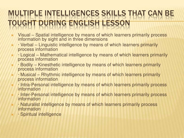 aplication of multiple intelligence theory in teaching and multiple intelligences