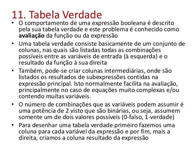 11. Tabela Verdade • O comportamento de uma expressão booleana é descrito pela sua tabela verdade e este problema é conhec...
