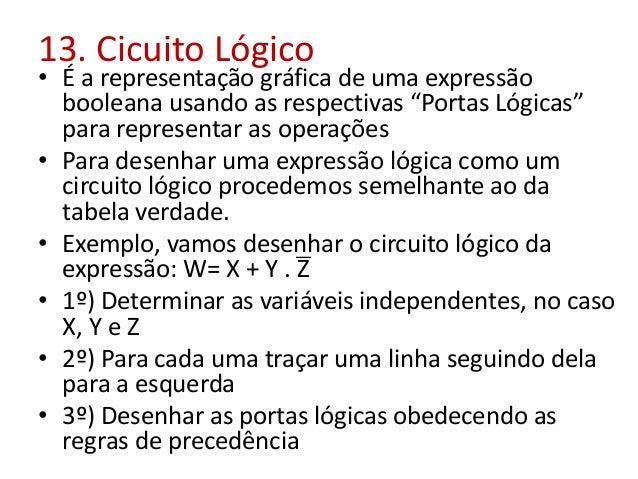 """13. Cicuito Lógico • É a representação gráfica de uma expressão booleana usando as respectivas """"Portas Lógicas"""" para repre..."""