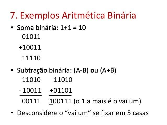 7. Exemplos Aritmética Binária • Soma binária: 1+1 = 10 • Subtração binária: (A-B) ou (A+B) 01011 +10011 11110 11010 11010...