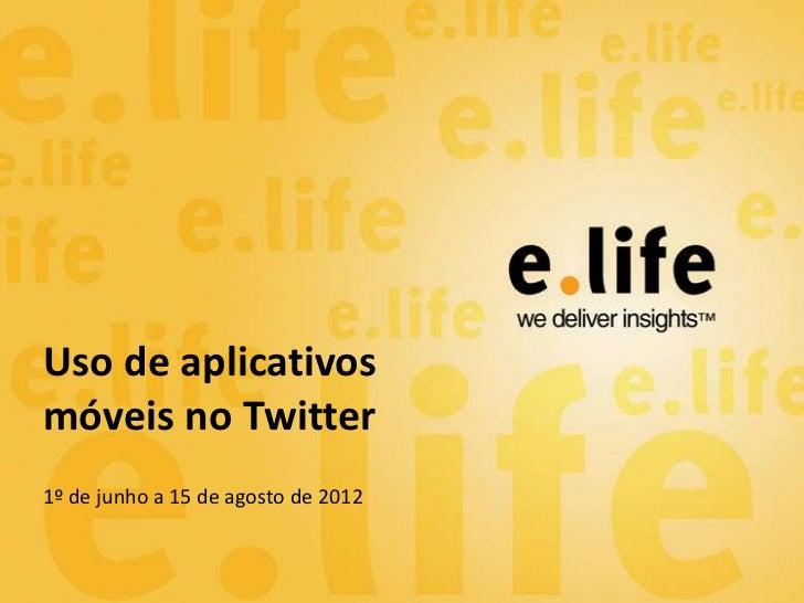 Uso de aplicativosmóveis no Twitter1º de junho a 15 de agosto de 2012