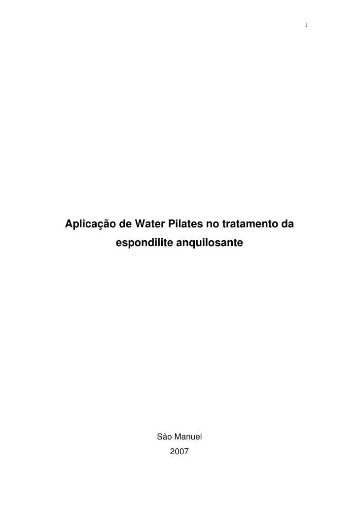 1     Aplicação de Water Pilates no tratamento da          espondilite anquilosante                      São Manuel       ...