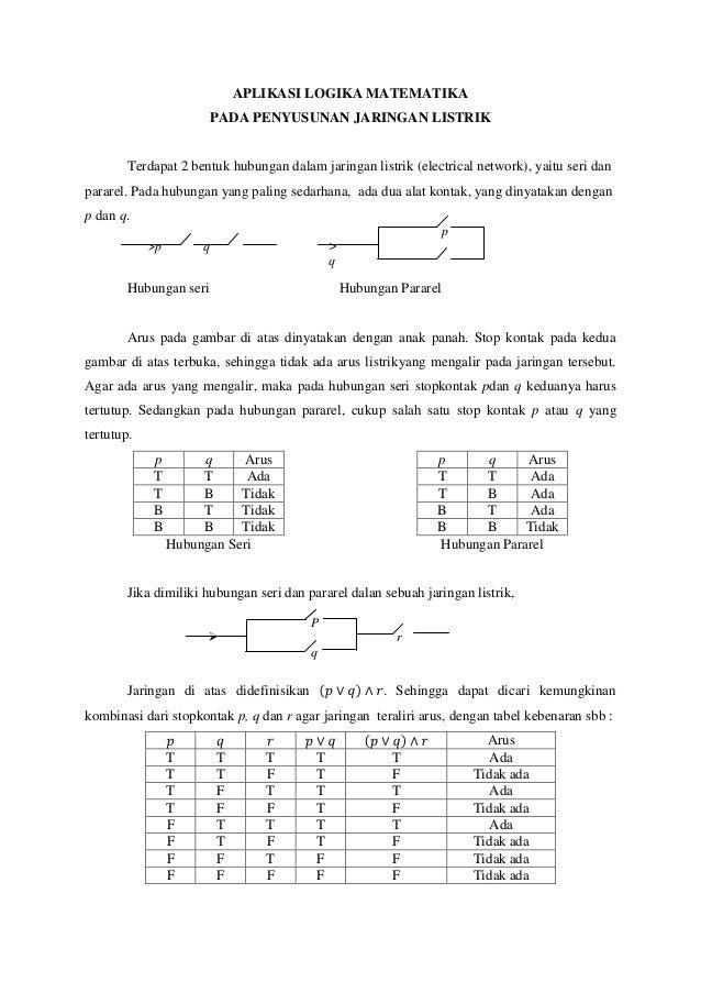 aplikasi logika matematika pada penyusunan jaringan listrik
