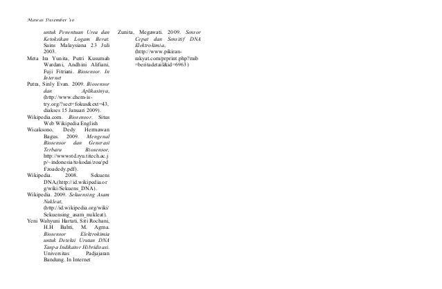 Mawas Desember '10       untuk Penentuan Urea dan         Zunita, Megawati. 2009. Sensor       Ketoksikan Logam Berat.    ...