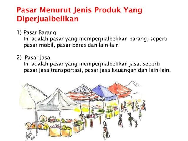 Pasar Menurut Jenis Produk Yang Diperjualbelikan 1) Pasar Barang Ini adalah pasar yang memperjualbelikan barang, seperti p...
