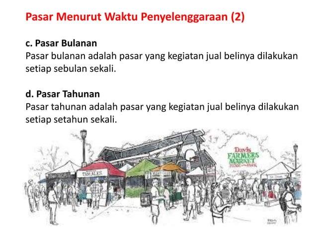 Pasar Menurut Waktu Penyelenggaraan (2) c. Pasar Bulanan Pasar bulanan adalah pasar yang kegiatan jual belinya dilakukan s...