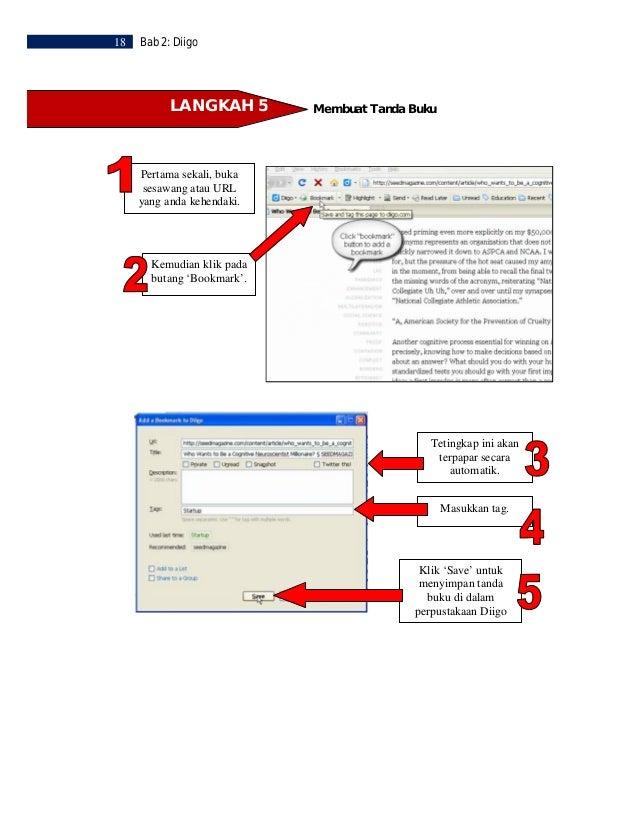 Bab 2: Diigo   19   Untuk melihatkembali tanda buku   anda, pergi ke toolbar Diigo dan   klik pada 'My      Library'.     ...
