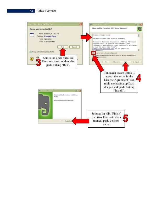 Bab 4: Evernote   55LANGKAH 3                  Daftar Masuk Evernote    Sebelum anda dapat  menggunakan Evernote,   anda p...