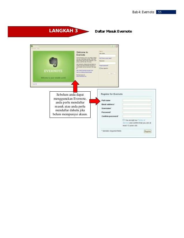 56   Bab 4: Evernote           LANGKAH 4                        Membina Buku Nota      Evernote menyimpan nota anda di dal...