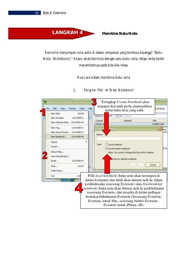 Bab 4: Evernote   572. Klik pada Notebook di bahagian kiri anda dan tekan'Insert' pada papan kekunci                   ata...