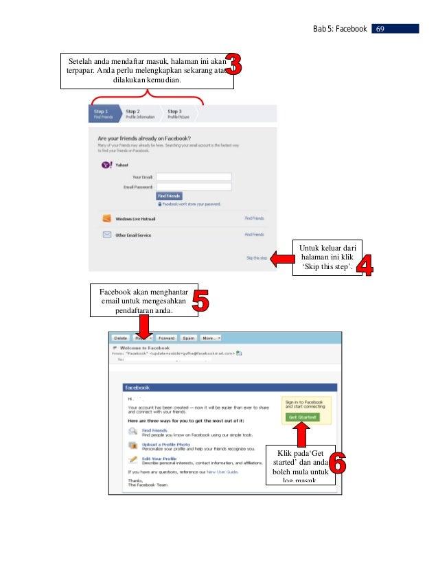 70   Bab 5: Facebook         LANGKAH 3                     Mencari Rakan     Anda boleh mengimport senarai         Pilih r...