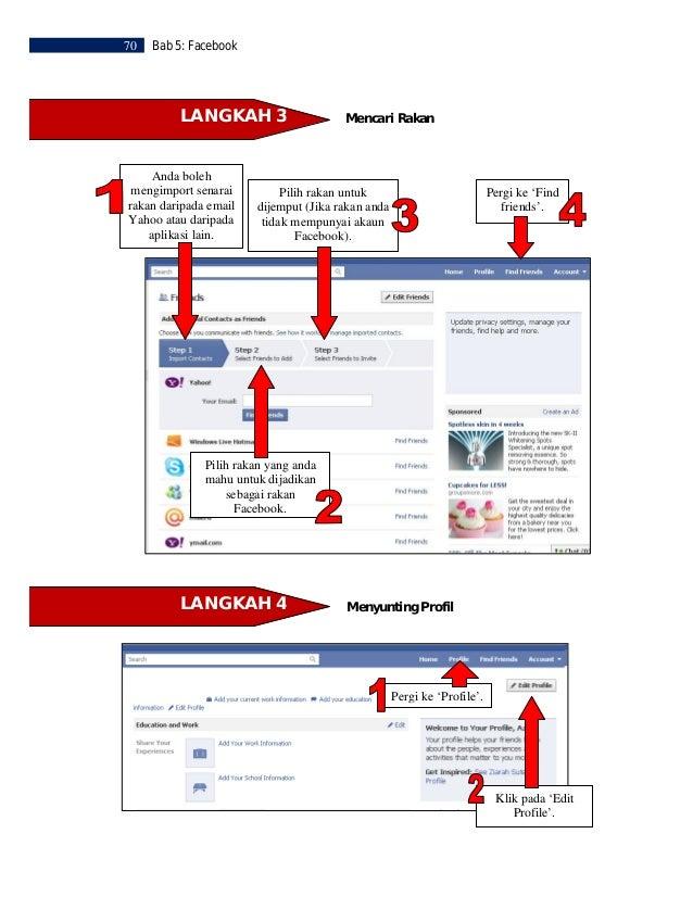Bab 5: Facebook    71Pilih perkara yang andamahu untuk disunting.                          Kemudian klik pada             ...