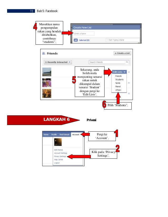 Bab 5: Facebook   73         Pilih jenis privasi         yang anda mahu            untuk akaun          Facebook anda.    ...