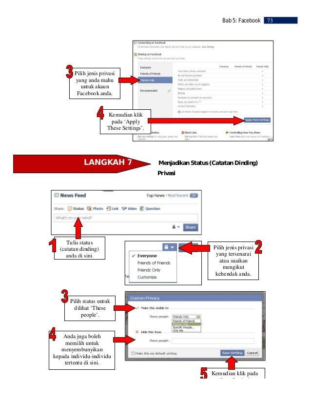 74   Bab 5: Facebook          LANGKAH 8                            Album GambarPada halaman utamaFacebook anda klik     'P...