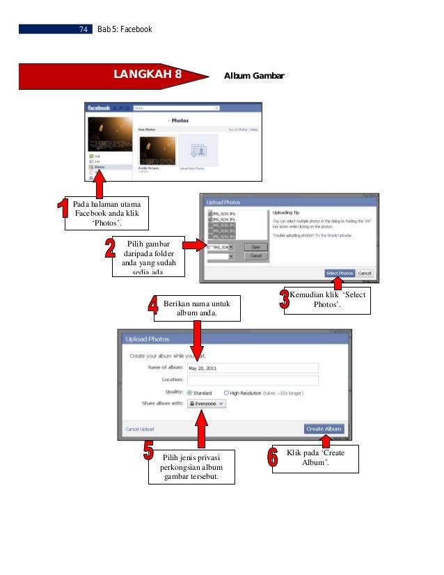 Bab 5: Facebook   75    Kemudian klik  'Publish Now' atau  'Skip' bahagian ini. Tuliskan peneranganberkenaan album anda.  ...
