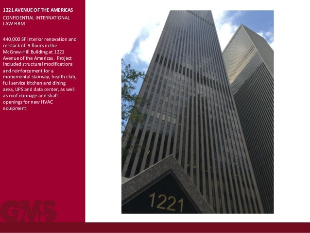 1221 AVENUE OF THE AMERICAS CONFIDENTIAL INTERNATIONAL LAW FIRM 440,000 SF interior renovation and re-stack of 9 floors in...