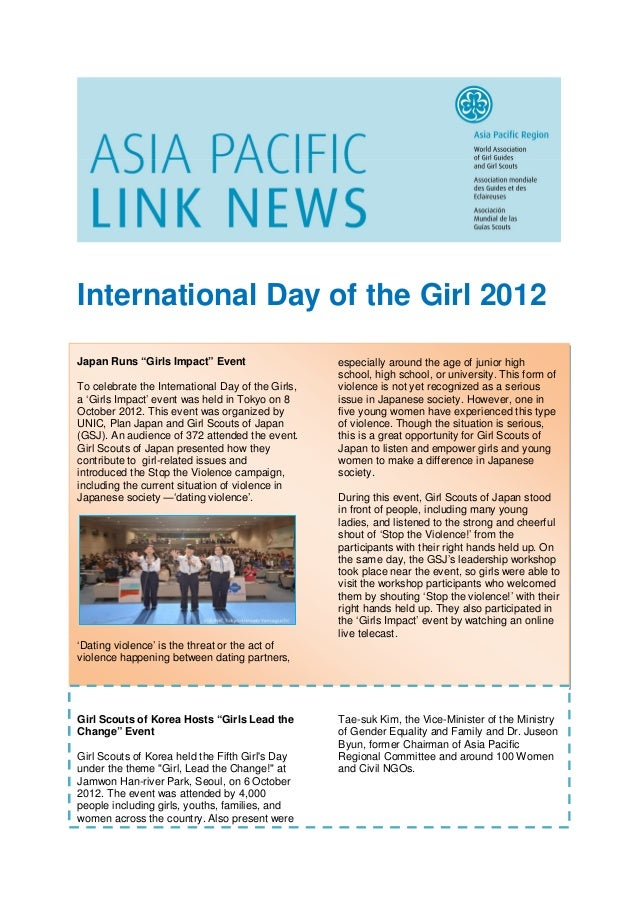 """International Day of the Girl 2012Japan Runs """"Girls Impact"""" Event                    especially around the age of junior h..."""