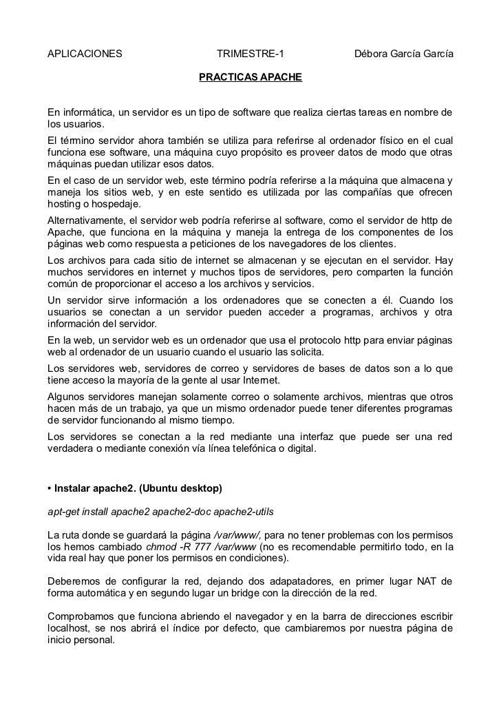 APLICACIONES                          TRIMESTRE-1                   Débora García García                                 P...
