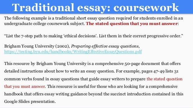writing an a college essay paper 16 traditional essay coursework the following example