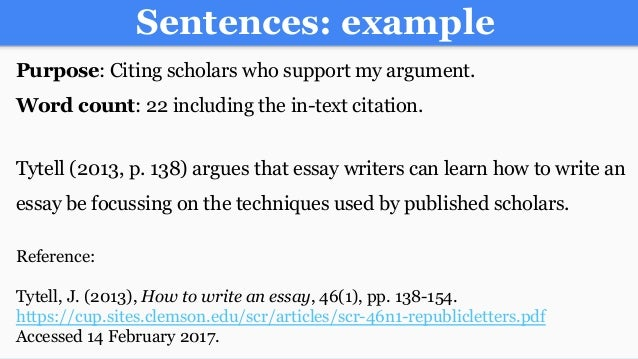 25 sentences example purpose citing scholars - Essay Citation Example