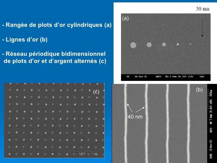 40 nm - Rangée de plots d'or cylindriques (a) - Lignes d'or (b) - Réseau périodique bidimensionnel de plots d'or et d'arge...