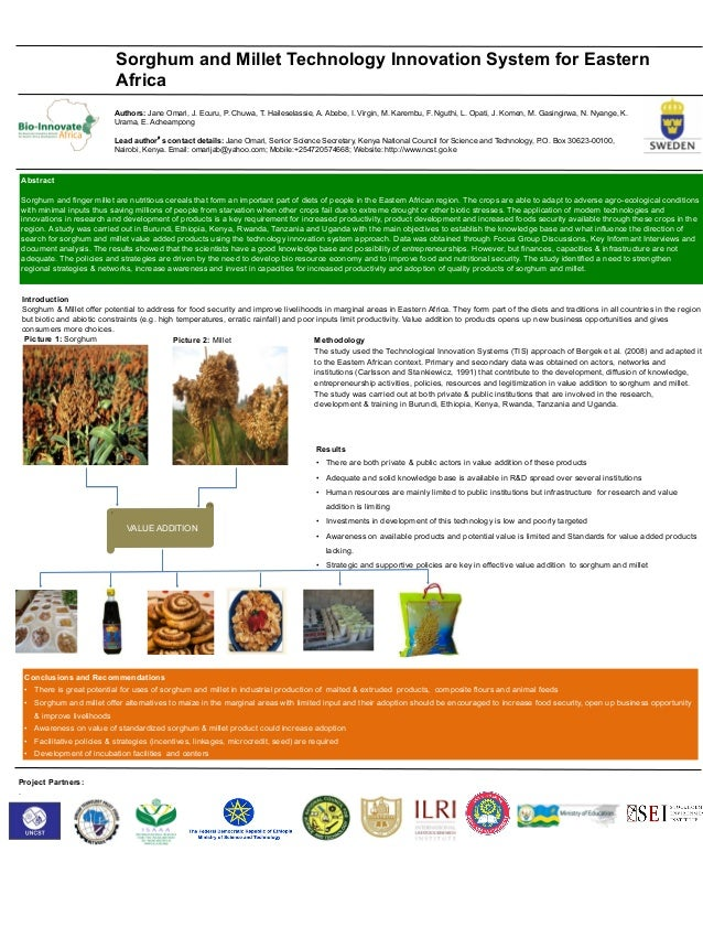 Introduction Sorghum & Millet offer potential to address for food security and improve livelihoods in marginal areas in Ea...