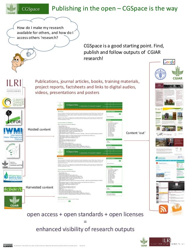 Publishing in the open – CGSpace is the wayHow do I make my researchavailable for others, and how do Iaccess others 'resea...