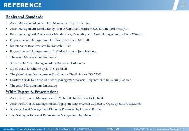 Asset performance managementdeepak sahoov02 50 52 books and standards asset management fandeluxe Image collections
