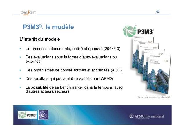 P3M3®, le modèle L'intérêt du modèle •  Un processus documenté, outillé et éprouvé (2004/10)  •  Des évaluations sous la f...