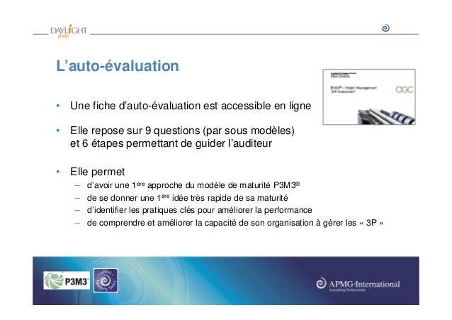 L'auto-évaluation • Une fiche d'auto-évaluation est accessible en ligne • Elle repose sur 9 questions (par sous modèles) e...
