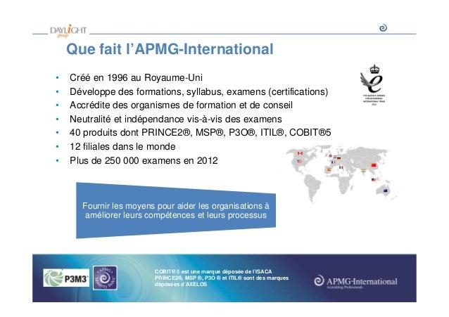 Que fait l'APMG-International • • • • • • •  Créé en 1996 au Royaume-Uni Développe des formations, syllabus, examens (cert...