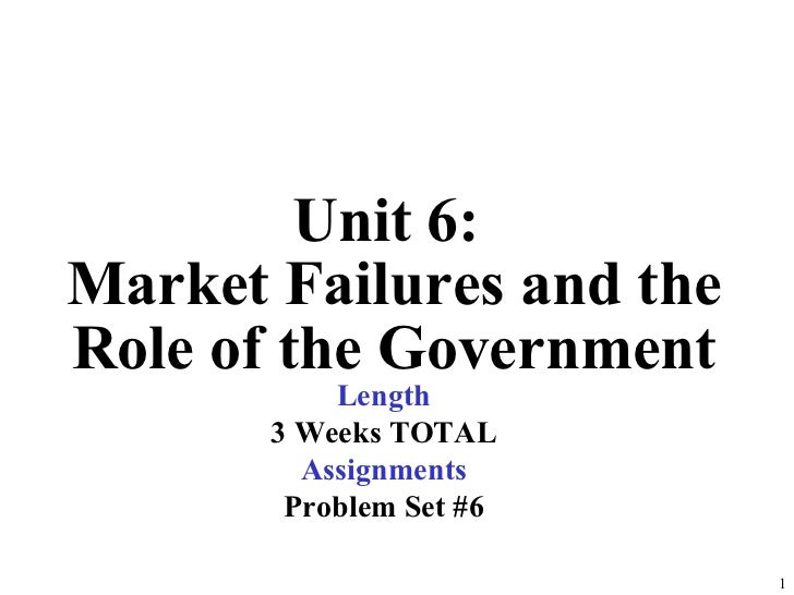 Unit 6:  Market Failures and the Role of the Government Length 3 Weeks TOTAL Assignments Problem Set #6