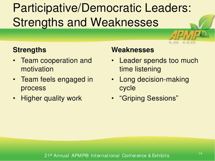 14 participativedemocratic leaders - How Would You Describe Your Leadership Style