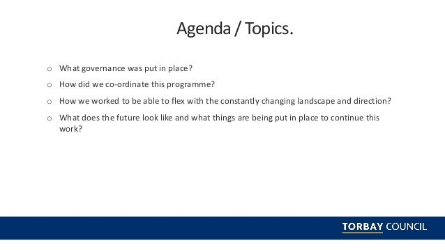 Programme Management within Torbay Council's COVID-19 response and prevention team webinar Slide 2