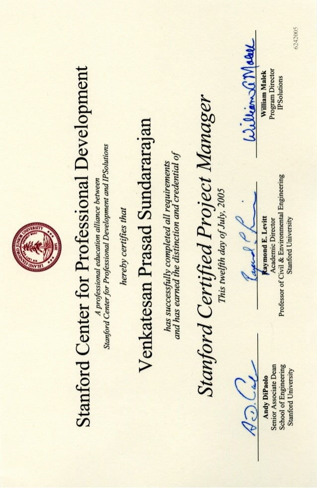 Stanford Engineering Gsb Advanced Project Management Certificate Vps